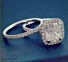 Halo Diamond Bridal Ring Set G,Vvs1 Gia Authentic 18K Wg 2.88 Ct Cushion Cut