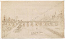 """Bridge of Regensburg, Germany"", German Ink Drawing, ca.1800"