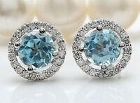 Women 925 Silver Aquamarine Gemstone Wedding Ear Stud Hoop Dangle Earrings New