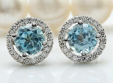Women Silver Plated Aquamarine Gemstone Wedding Ear Stud Hoop Dangle Earrings