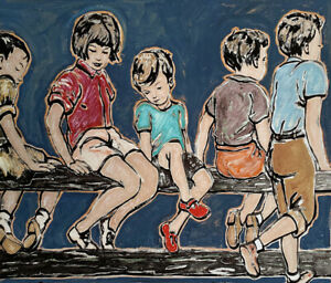 """New DAVID BROMLEY hand-signed Mixed Media """"Sitting on the Fence"""""""