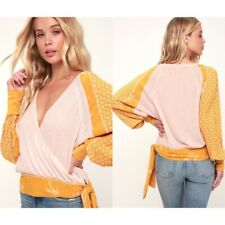 FREE PEOPLE AUXTON THERMAL WRAP TOP (SIZE L) PINK & MUSTARD