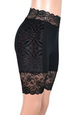 High-Waisted Sheer Brocade Velvet Side Black Stretch Shorts XS S M L XL 2XL 3XL