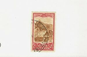 1949 Cook Islands SCOTT #139  Thatched House Palm Trees  used stamp