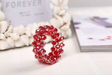 3 ROW RED FACETED GLASS BEAD & DIAMANTE CRYSTAL STRETCH MEMORY WIRE BRACELET
