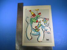Vintage May Colorful Clown Riding Elephant Art #183 Pressed Image S5319