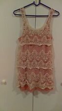 Xhilaration/Target Girls Dress Coral Lace Overlay Sleeveless, Summer Size Large