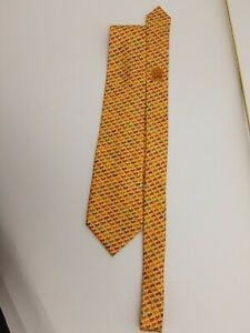 Hermes Paris Silk Tie Yellow Horse Pattern 5460 FA 100% Silk 9.5cm Width