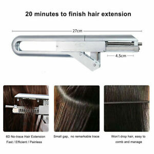6D Hair Extensions Iron Connector Salon Heat No-trace Natural Real Hair Tool Kit