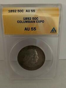 (1) 1892 50C Columbian Commemorative Silver Half Dollar - Coin Graded ANACS AU55