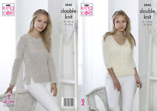 King Cole Ladies Double Knitting Pattern Womens Lacy Sweater & Cardigan 5045