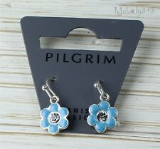 Vintage Andersen PILGRIM Earrings Silver/Blue Enamel Swarovski Flower BNWT
