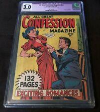 1949 Fox ALL GREAT CONFESSIONS MAGAZINE #nn CGC 3.0 RESTORED VERY RARE ROMANCE