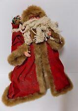 Vintage Tall Santa Fur Trim Hood Cape Cabin Style Rustic Santa Rope Beard