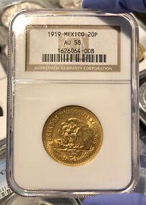 1919 MEXICO 20 PESOS GOLD COIN NGC AU58–SCARCE YEAR!