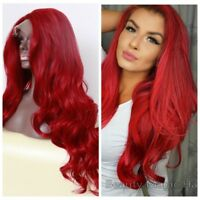 Woman's New Long Curly Wavy Red Lace Front Wig Heat Resistant Synthetic Hair