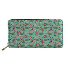 Turtle Long Wallet PU Purse Cards Phone Holder Womens Zip Around Handbag Green