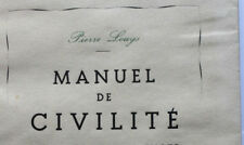 1948 Pierre Louÿs Manuel de civilité livre érotique illustré rare bibliophilie