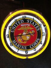 United States Marines Corps yellow Neon Clock NEW IN BOX 18 inch double neon