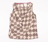 Anthropologie Maeve Quantum Circle Sleeveless Silk Blouse Top In Gray Size 6