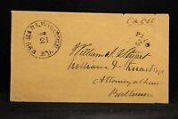 Maryland: Upper Marlborough 1850s Stampless Cover, PAID 3 in Arc, DPO