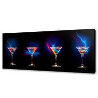 MARTINI COCKTAILS PANORAMIC CANVAS PRINT PICTURE WALL ART VARIETY OF SIZES