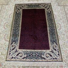Yilong 3'x5' Purple Hand Knotted Silk Rug Antistatic Easy to Clean Carpet 259B