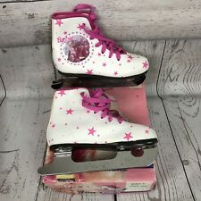 Vintage Barbie For Girls Brookfield Figure Ice Skates White & Pink Size 12 W/Box
