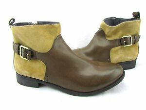 $330 ROSEGOLD Brown Tan Round Toe Buckle Strap Equestrian Ankle Boots 40 10 New