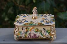 Italy Porcelain Jewelry Trinket Box Nude Mother & Children in Garden Scene