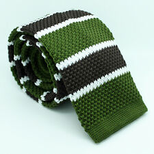 Tie Skinny Fabric Navy Green White Blue Brown Weave Knitted Striped Necktie