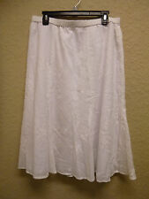 NEW JM Collection Petite Embroidered Pull-On Long Skirt White 16P