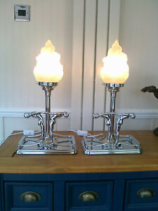 """A PAIR 18.5"""" HIGH CHROME ART DECO STYLE BEDSIDE/TABLE LAMPS  FLAME GLASS SHADES"""