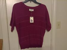 New Sonoma Life Style purple metallic PS cot nyl acry short sleeve sweater top
