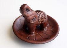Elephant on Lotus Design Clay Incense Burner