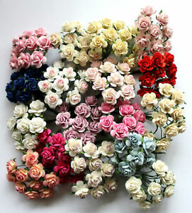 15mm Mulberry Paper Rose Flowers With Wire Stems For Card Making Craft