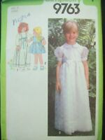 Vintage Simplicity Pattern 9763 Girls Long or Short Dress 1980s Cut Size 5