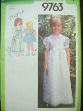 Vintage Simplicity Pattern 9763 Girls Long or Short Dress 1980s Cut Size 5