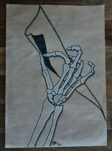 Original Hand Drawn Art Sketch Drawing by Artist A4 - TURN THE PAGE SKELETON HAN