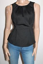 VALLEYGIRL Designer Black Pleat Front Fitted Top Size S BNWT #SM66