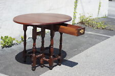 English Walnut Jacobean Drop Leaf Table 19th Century