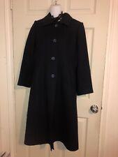 Fleurette 100% Merino Wool Navy Swing Long Coat Size 8