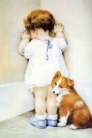 LMOP890 lovely little girl in the corner&dog hand art oil painting on canvas
