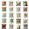 Colorful Geometric Cushion Cover Stripe Triangle Cotton Linen Throw Pillow Case