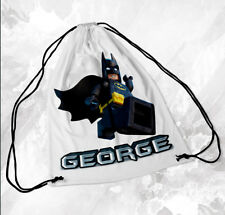 Personalised Drawstring Bag Any Name Batman Lego Swimming School Nursery PE 1