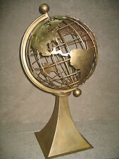 "Bronze World Globe Metal Hand Crafted Large Huge Sculpture 18"" Globe 42"" w/ Base"