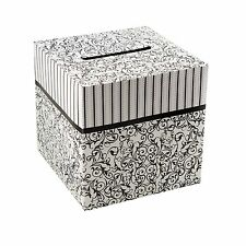 "Black & White Wedding Card Money Gift Box Reception Wishing Well 10"" x 10"""