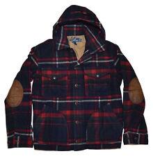 Polo Ralph Lauren Mens Plaid Hooded Wool Jacket Coat Navy Red Green Medium