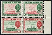 CHILE 1940 STAMP # 265/6 MNH BLOCK OF FOUR SHIP EASTER ISLAND ISLA DE PASCUA