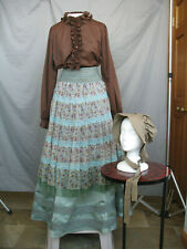 Civil War Dress Women's Victorian Costume Edwardian Reenactment with Bonnet Med